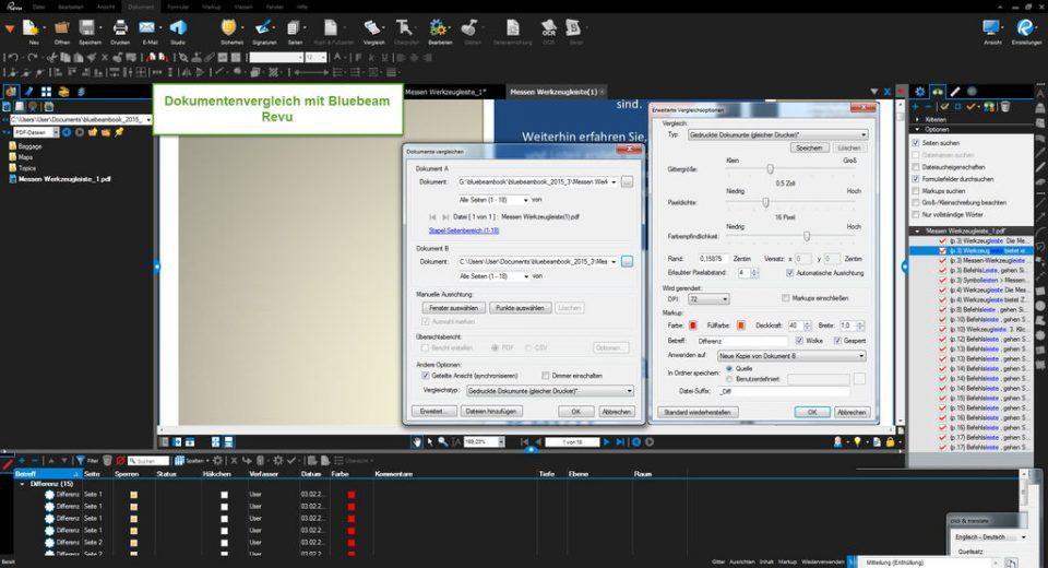 GRAFEX   PDF, TIFF, Word und Excel Dokumentenvergleich mit Bluebeam - Serie Revu