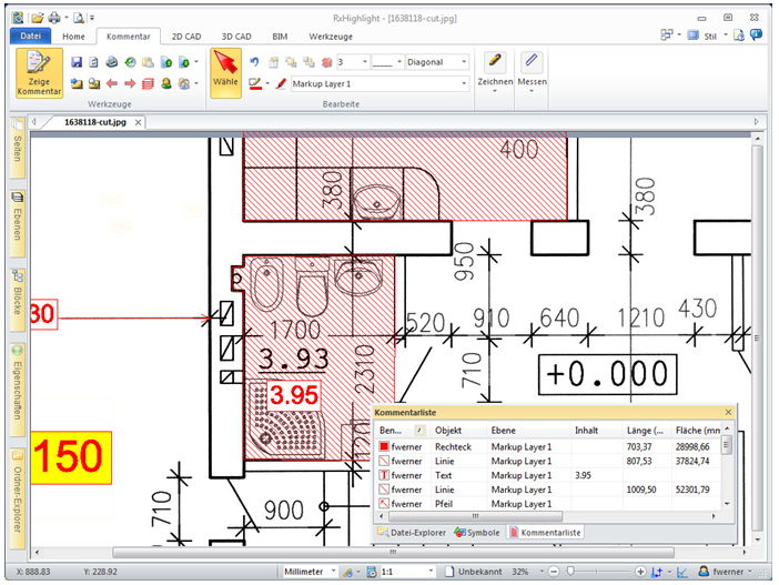 Mengen & Massenermittlung mit RxHighlight R17.1