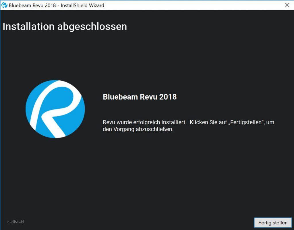 bluebeam-revu-2018-installation-abgeschlossen