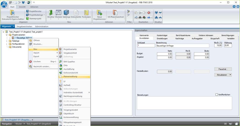 installation-rxsdk-in-itwo-07-projektstamm-planverwaltung