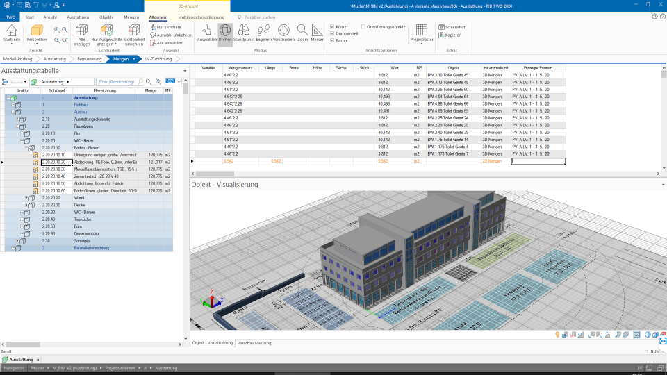 Neu in der RxSDK für iTWO: Graphisch ermittelte 2D-Mengen mit 3D-Mengenermittlung verknüpfen