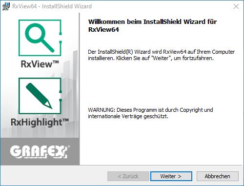 Installation RxView/RxHighlight Schritt 1
