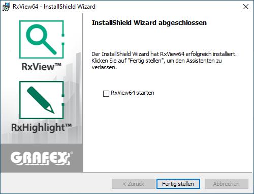 Installation RxView/RxHighlight Schritt 7